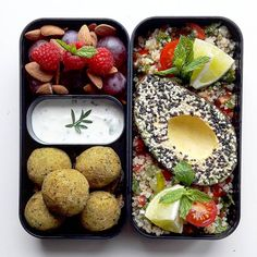 Quinoa tabbouleh • Avocado and sesame • Falafels • Roasted eggplants • Coconut yoghurt, mint and lemon • Fruts and almonds • Aurore (@the_v_world) • Instagram photos and videos