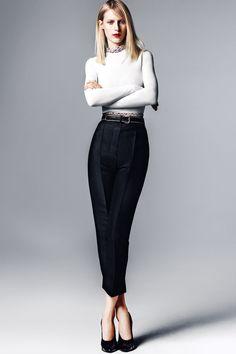 Calvin Klein Collection top, Eton of Sweden shirt (worn under), Yves Saint Laurent pants, Calvin Klein Collection shoes.