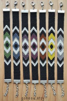 Bead Loom Bracelet // Black and White Bracelet // Blue by Gomeow