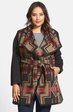 Pendleton Jacquard Wool Blanket Wrap Coat (Plus Size) (Online Only) available at #Nordstrom