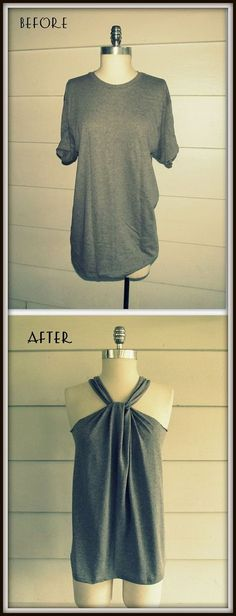 No-Sew halter top diy shirt makeover, diy shirt, clothing ha Diy Fashion, Ideias Fashion, Style Fashion, Fashion Dresses, Diy Kleidung, Diy Vetement, Refashioning, Diy Clothing, Clothes Refashion