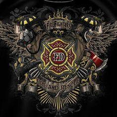 Firefighter Fire & Rescue Crest Tee Shirt