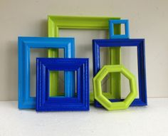 Picture Frame Set - Lime Green Dark Blue and Turquoise- Vintage Bright Home…