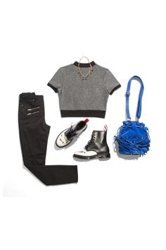 Black Skinnies + Cropped Sweater + Statement Necklace + Lace-Up Boots  - Seventeen.com