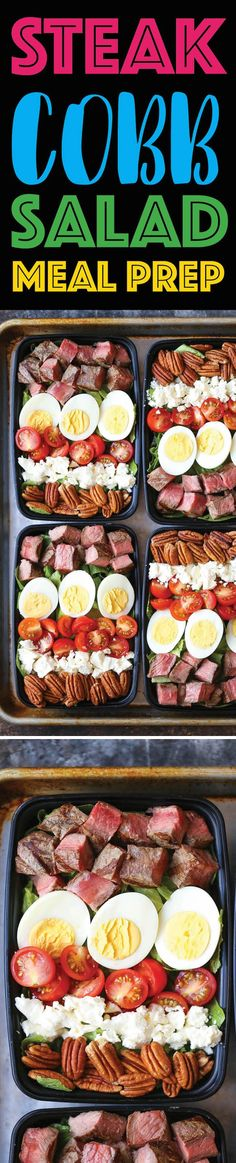 Steak Cobb Salad Meal Prep — Prep for the week ahead! Loaded with protein, nutr… Steak Cobb Salad Meal Prep — Prep for the week ahead! Loaded with protein, nutrients and greens! Plus, this is low carb, easy peasy and budget-friendly. Healthy Recipes, Lunch Recipes, Healthy Snacks, Healthy Eating, Cooking Recipes, Budget Cooking, Budget Meals, Keto Recipes, Healthy Steak