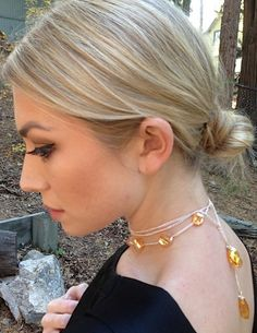 Curved amber crystal lariat on gold by JewelsforGeorgiGirl on Etsy, $49.00