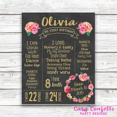 First Birthday Pink Floral Chalkboard Sign, Gold Foil Floral Wreath Chalk Sign, Printable Custom Girl 1st Birthday Poster, Pink and Gold