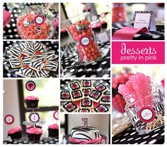 Image detail for -barbie pink and black birthday party, barbie birthday party ideas . Barbie Theme Party, Barbie Birthday Party, First Birthday Parties, First Birthdays, Birthday Ideas, Theme Parties, Pink Zebra Party, Zebra Birthday, Art Birthday