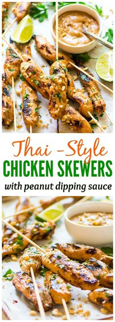 Thai-Style Satay Chicken Skewers with Peanut Dipping Sauce. EASY and DELICIOUS. Even better than a restaurant. Perfect for a light dinner or crowd-pleasing party appetizer! Recipe at Chicken Appetizers, Appetizers For A Crowd, Appetizers For Party, Appetizer Recipes, Dinner Recipes, Dinner Party Meals, Light Meals For Dinner, Light Dinner Ideas, Grill Appetizers