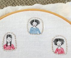little embroidered portraits