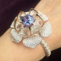 Reveal bracelet with a rare purple Spinel #glondon #harrods