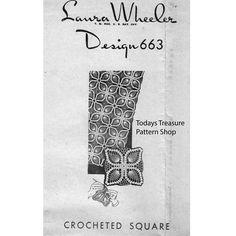 Pineapple Crochet Square Pattern Laura Wheeler 663   Vintage Knit Crochet Pattern Shop