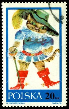 Vintage  postage stamp. Cat in boots