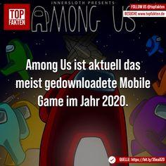 Among Us ist aktuell das meist gedownloadete Mobile Game im Jahr 2020. - #amongus #games #gaming #mobile #statistics #spiele #spielen #computer #smartphone #app #fakten Mobile Game, Computer, Smartphone, Gaming, App, Instagram, Technology, Playing Games, Videogames