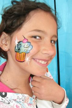 Cupcake face paint cheek
