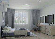 Desk, vanity, dresser, the bed Home Room Design, Modern Bedroom Design, Master Bedroom Design, Living Room Designs, Room Ideas Bedroom, Bedroom Layouts, Bedroom Desk, Purple Master Bedroom, Luxurious Bedrooms
