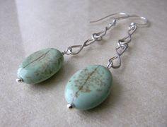 Turquoise Earrings sterling silver earrings by JulieEllisDesigns