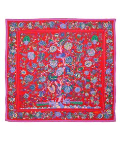 Liberty London Scarves Red Tree of Life Print Silk Scarf | Scarves by Liberty London Scarves | Liberty.co.uk