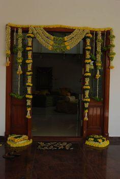 Simple Flower Decoration For Villa For Housewarming, Gruhapravesam . Marriage Decoration, Wedding Stage Decorations, Diwali Decorations, Flower Decorations, Festival Decorations, Diy Interior, Apartment Interior, Interior Design, Entrance Decor