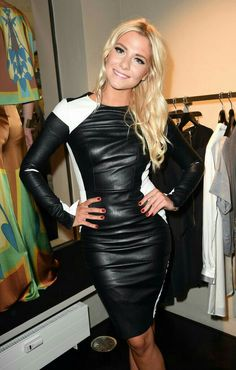 Valentina Pahde attends the Marcus Heinzelmann Boutique Opening Tight Dresses, Sexy Dresses, Leder Outfits, Applique Dress, Leather Dresses, Leather And Lace, White Leather, Leather Leggings, Leather Fashion