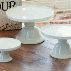 Shabby Chic Creamware Cake Stands, Set of 3    $62.00 @ http://www.antiquefarmhouse.com/current-sale-events/dining.html