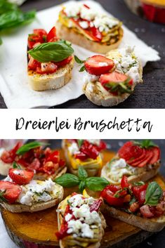 Bruschetta are among the classics of Italian cuisine. It is the perfect starter, ideal with a glass of wine and just for yourself a delicious dish. I'll show you three ways to make delicious bruschetta. Italian Snacks, Italian Recipes, Yummy Appetizers, Appetizer Recipes, Tapas, Bruchetta Recipe, Italian Vegetables, Thanksgiving Appetizers, Clean Eating Snacks