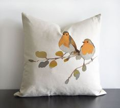 Robin Birds original design in orange and grey colours - linen/cotton pillow Cover with invisible zipper. Watercolor Design, Floral Watercolor, Watercolour Birds, Cushion Covers, Pillow Covers, Down Pillows, Throw Pillows, Bird Pillow, Original Design