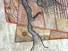 Erma Martin Yost - Felted Fields  detail of Shadowed Field