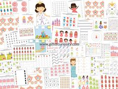 Princess Printables Pack: 74 princess printables and activities for kids ages 2-7 to work on skills such as shapes and sizes, colors, same vs. different, sorting/categorizing, patterning, puzzles, mazes, fine motor, math, and literacy.  #freeprintables || Gift of Curiosity