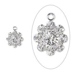 Drop - Swarovski crystal and silver-plated brass, Crystal Passions®, crystal clear, 10x10mm flower, PP18/32. Sold per pkg of 2. (snowflakes?)