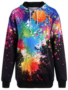 $21.49 Plus Size Splatter Paint Pullover Hoodie - Black