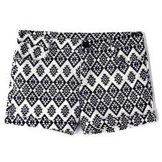 Fashionable Straight Leg Geometric Pattern Elasticity Women's Shorts (WHITE AND BLACK,L) in Pants & Shorts | DressLily.com