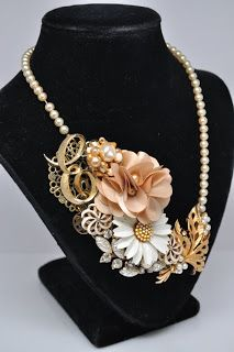 Vintage brooch statement necklace by NCG