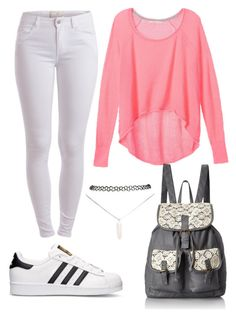 """""""Back To School"""" by marsophie ❤ liked on Polyvore featuring Victoria's Secret, Pieces, adidas, T-shirt & Jeans and Wet Seal"""
