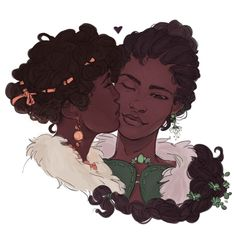 "Risoria: ""🌺 patience/lacey kisses for dearest "" Lesbian Art, Gay Art, Black Girl Art, Art Girl, Animation, Arte Black, Afro Art, Pretty Art, Character Design Inspiration"