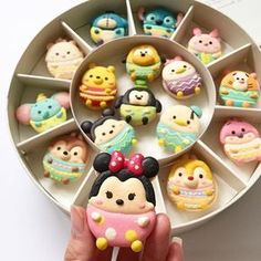 * Tsumtsum with egg costume macarons * ^^^Easter theme disney^^^ Disney Desserts, Cute Desserts, Disney Food, Cute Cookies, Yummy Cookies, Yummy Treats, Yummy Food, Macaroons, Macaroon Cookies