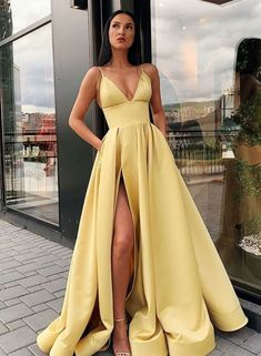 A Line Spaghetti Straps V Neck Yellow Prom Dresses with Pockets High Slit Satin . - - A Line Spaghetti Straps V Neck Yellow Prom Dresses with Pockets High Slit Satin Formal Dress Source by newtoptrends Prom Dresses With Pockets, Pretty Prom Dresses, V Neck Prom Dresses, Elegant Dresses, Homecoming Dresses, Dresses Dresses, Matric Dance Dresses, Satin Dresses, Prom Dreses