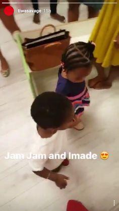 Cute Photos of Tiwa Savage and Davido's Kids Holding Hands