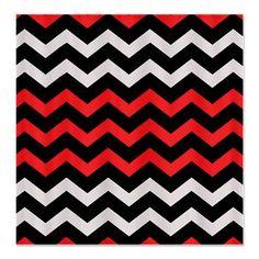 Black Grey Red Chevron Shower Curtain