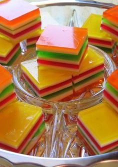 Layered Finger Jello. My mom made this for us and I made it for my kids. We all loved it.