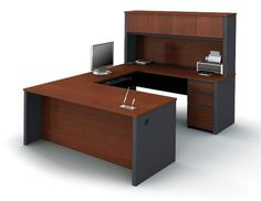 Bestar - Prestige Plus U-Shaped Workstation Kit In Bordeaux & Graphite - 99853-39