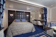Sapphire blue is the dominant color theme in the ship's luxurious Penthouse Suites.