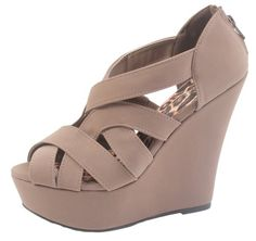 Qupid Women's Finder Open Toe Wedge Sandals,7 B(M) US,Taupe