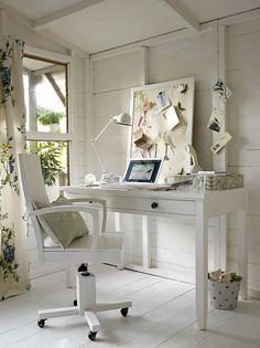 Home office space white tone on tone. Cottage, coastal inspiration.