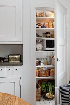 Ideas For Kitchen Pantry Doors Hidden Microwave Kitchen Pantry Doors, Kitchen Storage, New Kitchen, Pantry Cupboard, Kitchen Interior, Interior Design Living Room, Kitchen Decor, Pantry Design, Küchen Design