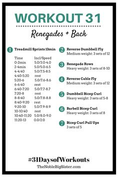Workout 31 Renegades + Back | Back Workout, Renegade Rows | 31 Days of Workouts | The Noble Big Sister