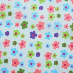 put the kettle on - flower power poly-cotton fabric