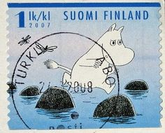 Moomin postage stamp from Finland Tove Jansson, Stamp Collecting, Mail Art, Beautiful Artwork, Postage Stamps, Illustrations Posters, Fairy Tales, Illustrator, Helsinki