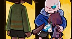 AU where Sans is able to protect Frisk from Chara…or at least die trying