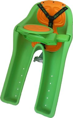 iBert baby bike seat.  Easy to install and allows you to see and communicate with your little one when biking.